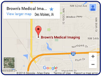 Map and Directions to Browns Medical Imaging in Grimes, IA serving Iowa and surrounding states from Des Moines area