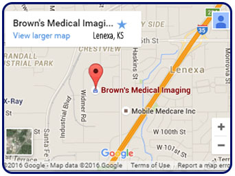 Map and Directions to Browns Medical Imaging in Lenexa, KS serving the Kansas City area